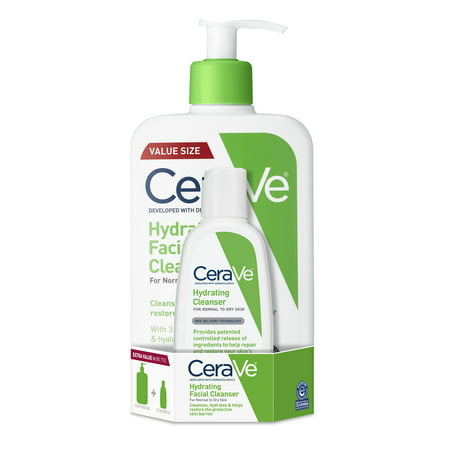 CeraVe Hydrating Face Wash, Cleanser for Normal to Dry Skin, 3 &16 oz. Cleanser 16 Ounce Bottle