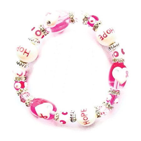 Think Pink Breast Cancer Rhinestone Glass Bead Kate and Macy Stretch - Multi Disc Bracelet