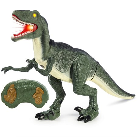 Best Choice Products Remote Control Velociraptor RC Walking Dinosaur Lights & Sounds Kid Pet Toy