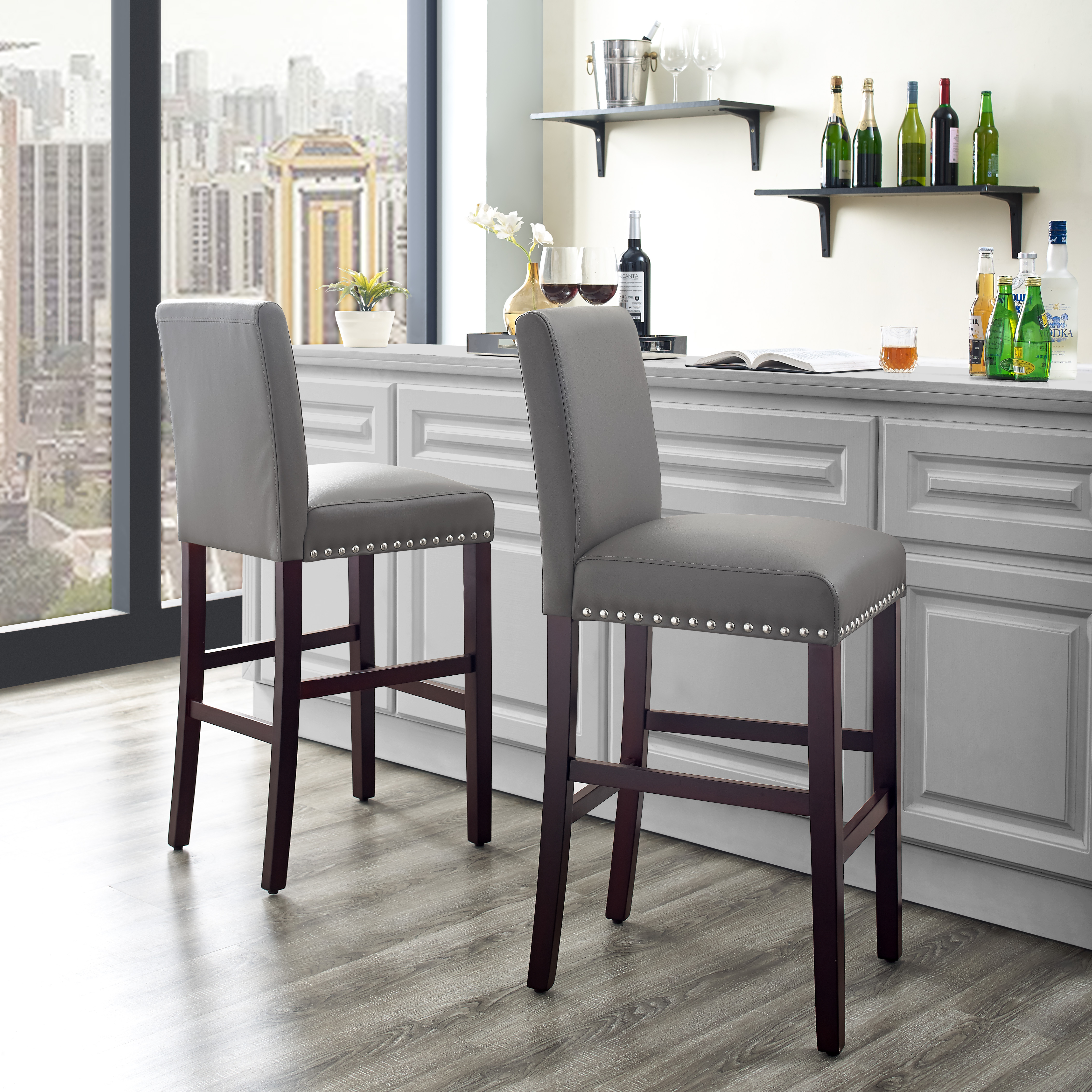 DHI Nice Nail Head Faux Leather Bar Stool (2PK), Multiple Colors