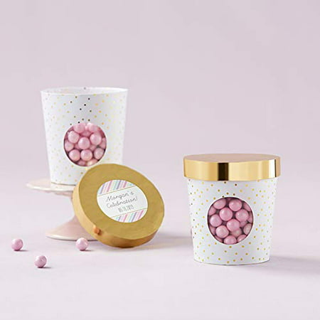 Kate Aspen Ice Cream Favor Box - Gold Dot (4 Sets of 12, 48 Pieces) - Perfect Favor Container & Decoration for Bridal Showers, Baby Showers, Birthdays, or Weddings