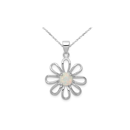 Lab Created Opal Flower Pendant Necklace in Sterling Silver with Chain Lab Opal Pendant