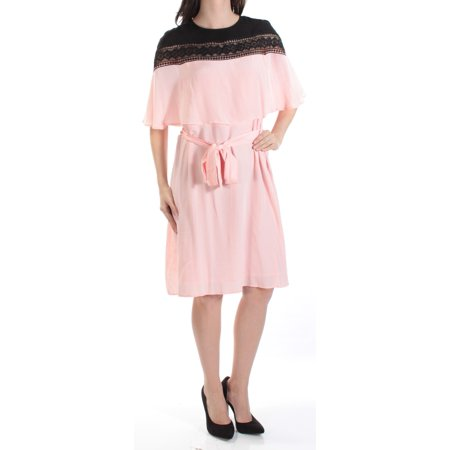 YYIGAL Womens Pink Belted  Cape Style Overlay Jewel Neck Knee Length A-Line Dress  Size: -