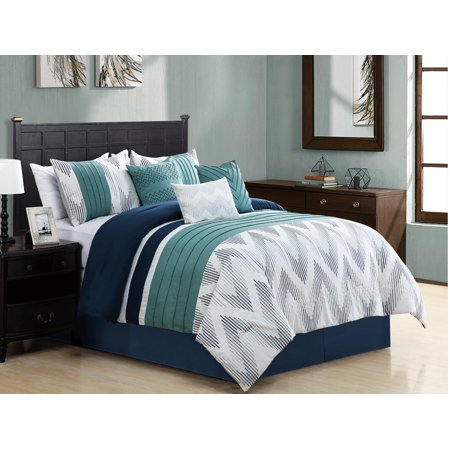 11 Piece Kendall Turquoise/Navy/White Bed in a Bag Set ...