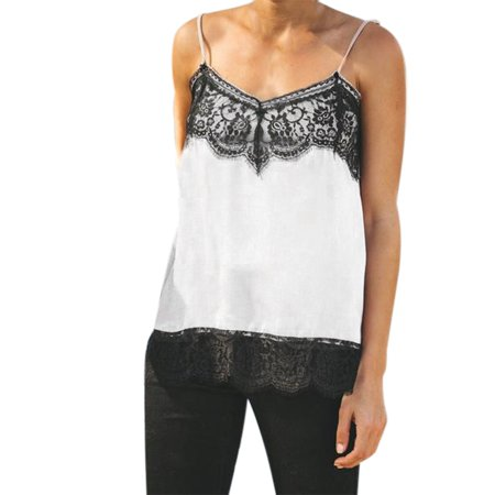 Women Silk Satin Camisole Plain Strappy Vest Top Sleeveless Blouse Casual (Silk Sleeveless Camisole)