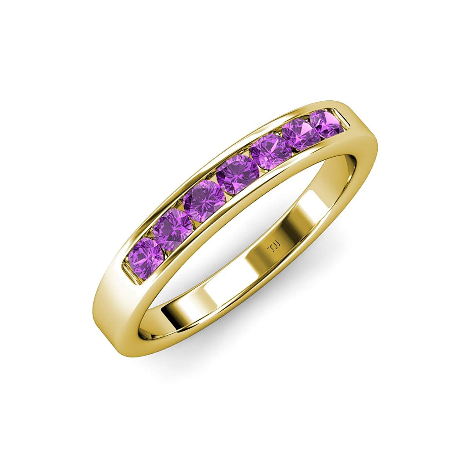 Amethyst 7 Stone Channel Set Wedding Band 0.70 ct tw 14K Yellow Gold.size 5 by TriJewels