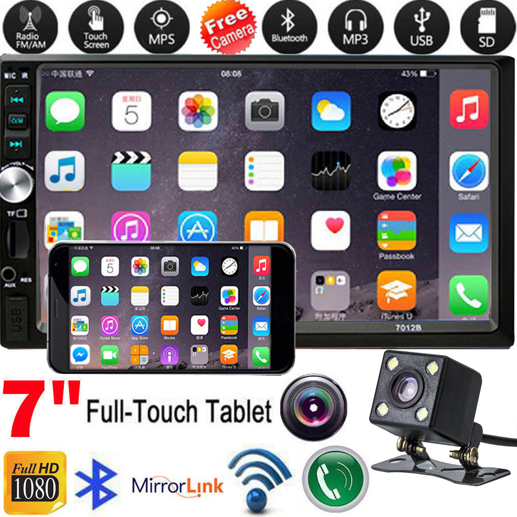 Vehicle Car 2 Din MP5 Player Car Radio Stereo 7 Inch HD Touch Screen with Reverse Camera Mirror Link