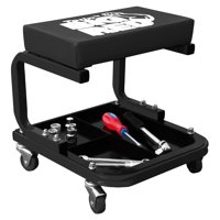 Torin Steel Rolling Padded Vinyl Creeper Mechanic Stool w/ Integrated Tool Tray