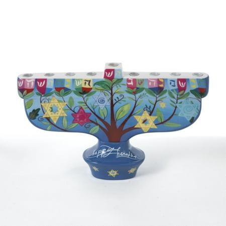 "9.5"" Porcelain ""Happy Hanukkah"" Menorah Table Top Decoration"