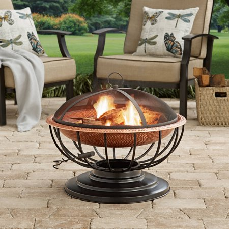 Hammered Copper Fire Pit with Tabletop