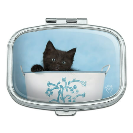 Black Kitten Cat in Bucket Tin Pail Rectangle Pill Case Trinket Gift Box