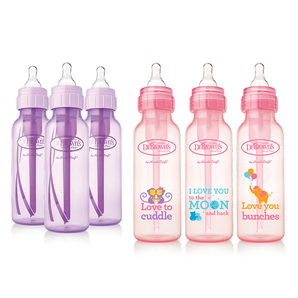 Dr. Brown's Baby Bottles Girls 6 Pack 3 (8 oz) Lavender and 3 (8 oz) Pink bottles by Dr. Brown%27s