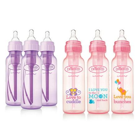 Dr Brown Halloween Bottle (Dr. Brown's Baby Bottles Girls 6 Pack - 3 (8 oz) Lavender and 3 (8 oz) Pink)