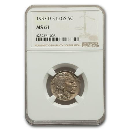 1937-D 3 Legged Buffalo Nickel MS-61 NGC