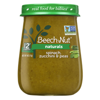 (10 Jars) Beech-Nut Naturals Baby Food Jar, Stage 2, Spinach, Zucchini & Peas, 4 oz