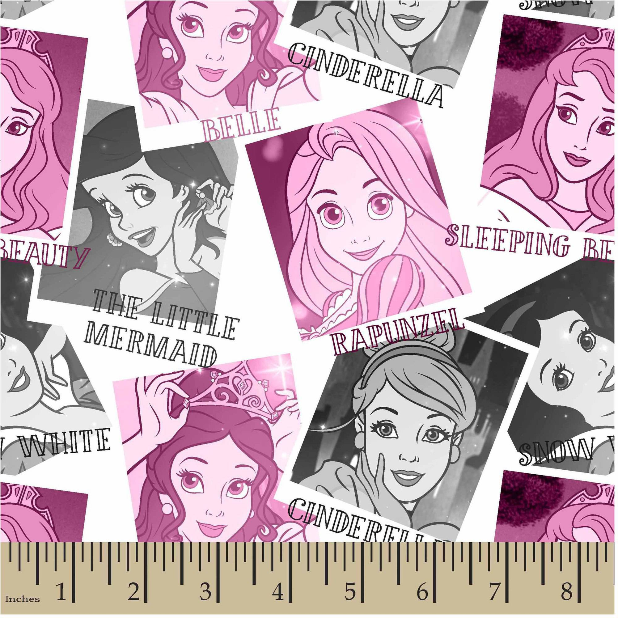 "Disney Princess Photos, Pink, Jersey Knit, 58/59"" Width, Fabric by the Yard"