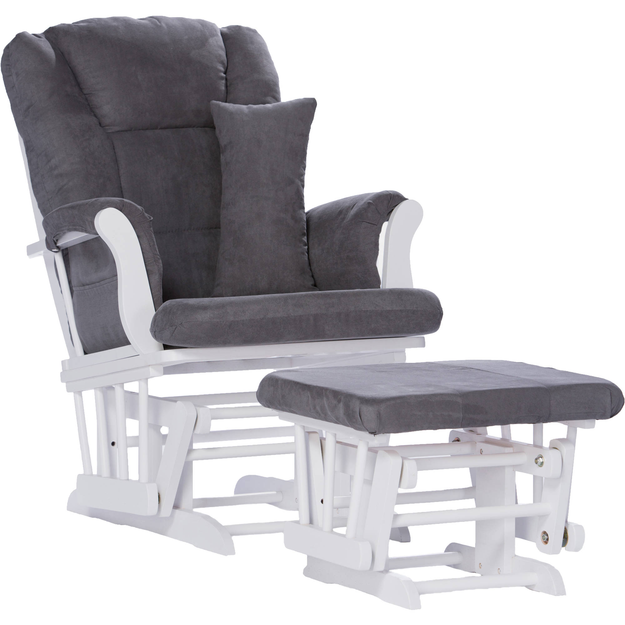 Storkcraft Tuscany Glider and Ottoman with Lumbar Pillow, White Finish, Choose Your Cushion Color
