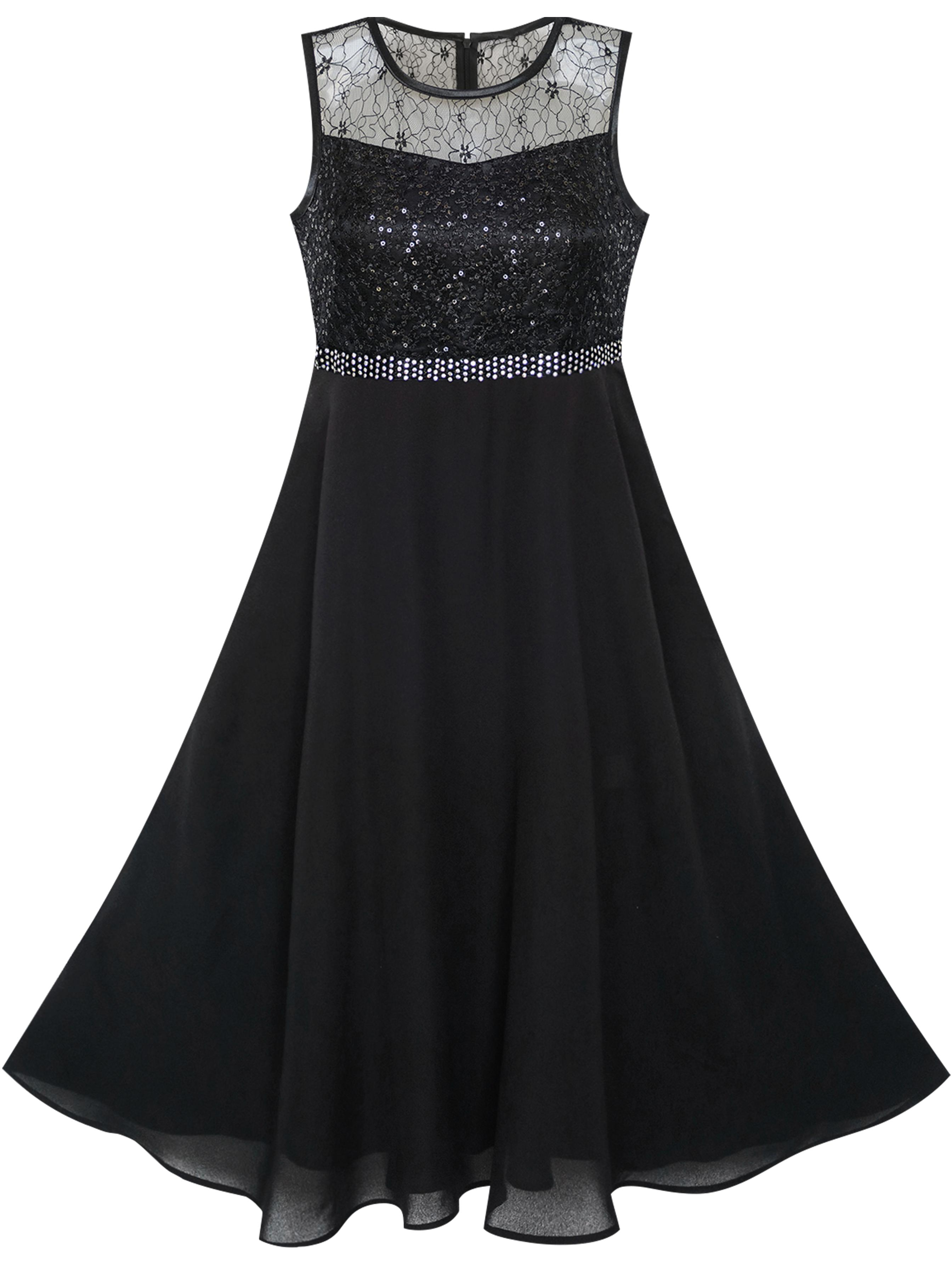 Girls Dress Rhinestone Chiffon Bridesmaid Dance Ball Maxi Gown 6