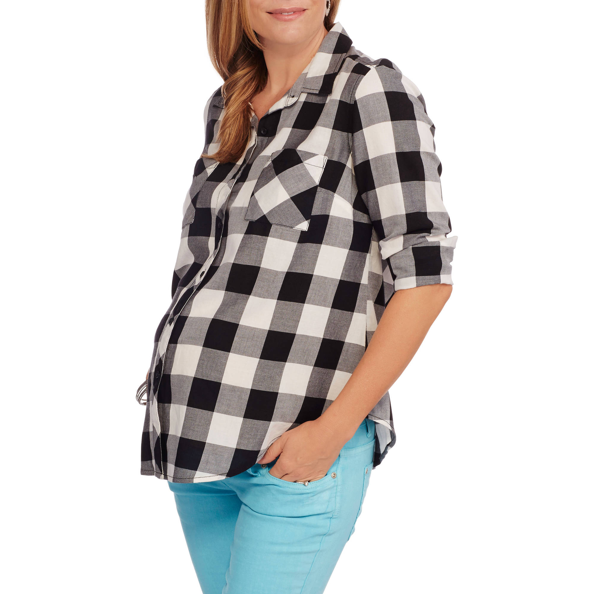 Faded Glory Maternity Two Pocket Plaid Button Up Shirt
