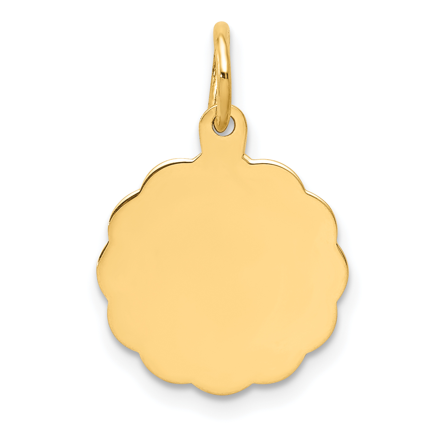 14k Yellow Gold .013 Gauge Engravable Scalloped Disc Pendant Charm Necklace Shaped Fine Jewelry Gifts For Women For Her - image 2 de 2