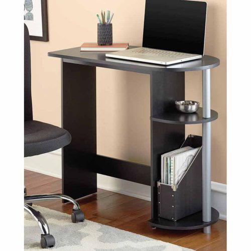 Mainstays Black Computer Desk with Built-in Shelves - Walmart.com