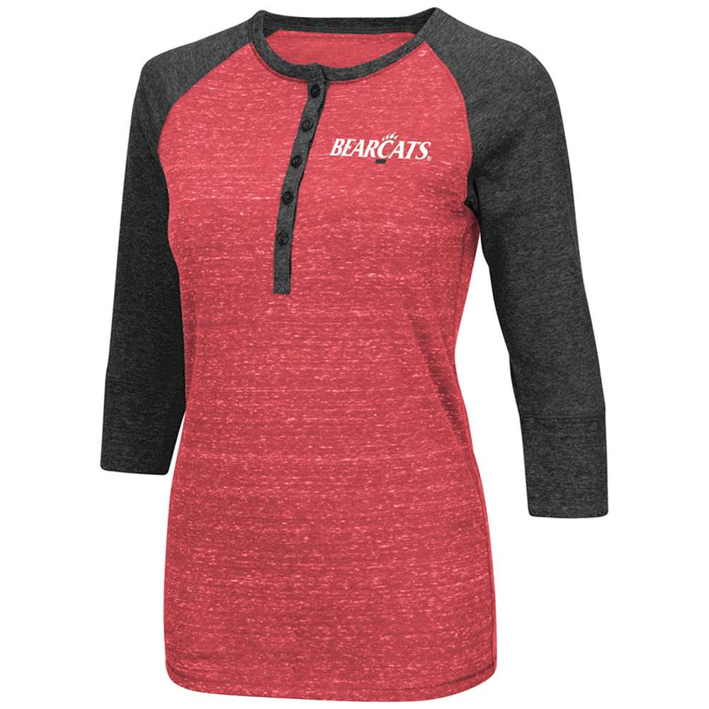 Cincinnati Bearcats Women's Split 3/4 Sleeve Raglan Shirt