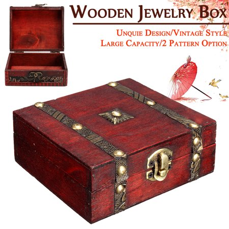 Mrosaa Treasure Box Decorative Trinket Jewelry Storage Boxes Organizers Vintage Wooden Chest Treasure Case for Cards Collection
