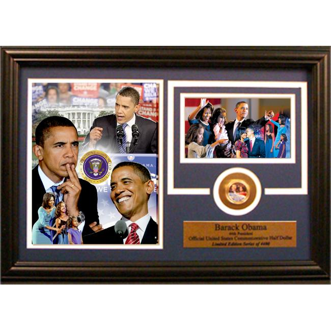 Encore Select 189-ObamaHD Barack Obama with Commemorative JFK Half Dollar Photograph Mint in a 12 inch x 18 inch Deluxe