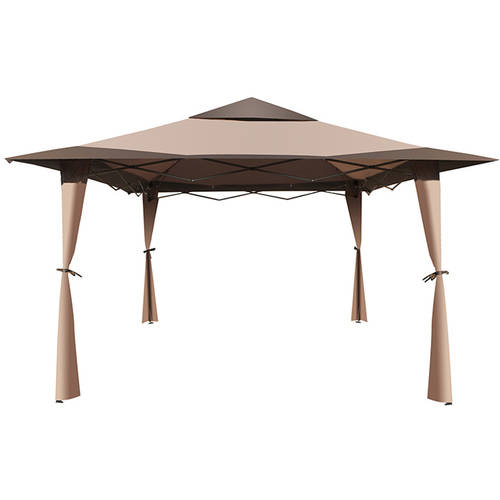 ALEKO GZB004 Double-Roof Polyester Patio Gazebo Canopy, Brown, 10' x 10' by ALEKO