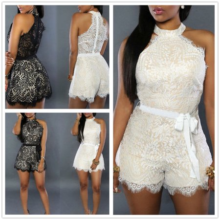 Thirty Two Womens Lashed - Women Girls New Fashion Sexy Solid Sleeveless Lace Lashes Playsuits Summer Bodycon Embroidery Lace Floral Jumpsuit Hot