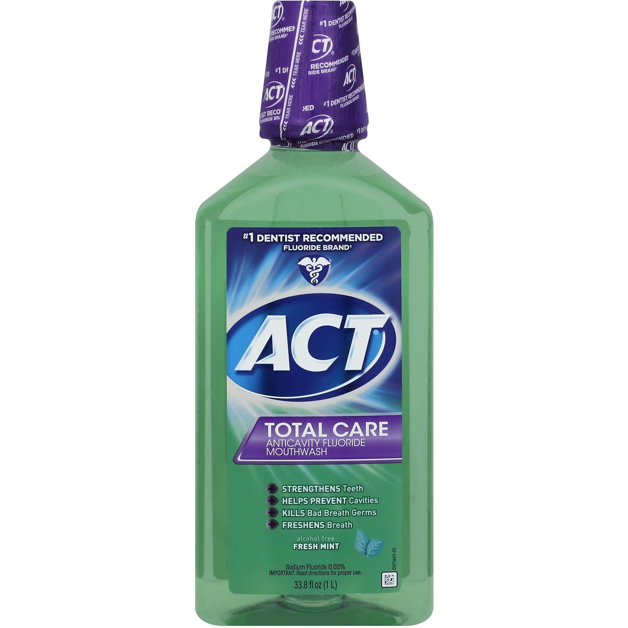 ACT Total Care Fresh Mint Anticavity Fluoride Mouthwash, 33.8 oz