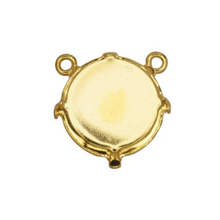 Gita Jewelry Stone Setting for Swarovski Crystal, Pendant Link Base with 2 Top Loops for 14mm Rivoli, Gold Plated