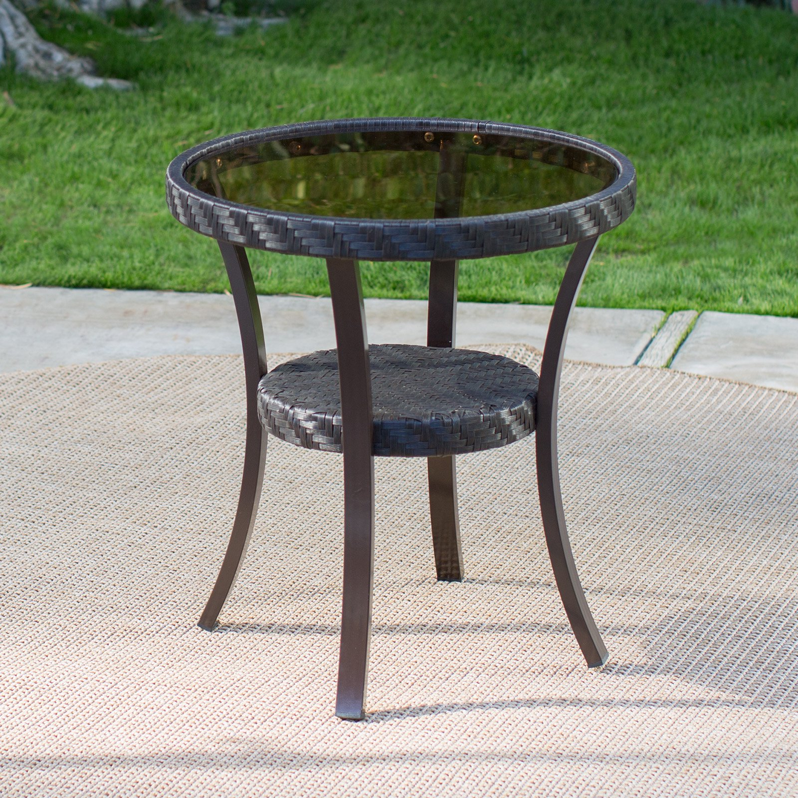 Coral Coast Losani All Weather Wicker Patio Side Table by