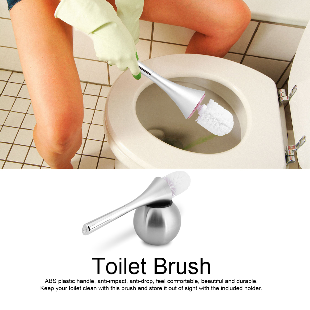 TMISHION Creative Bathroom Toilet Scrub Cleaning Brush Holder Set with Stainless Steel Base