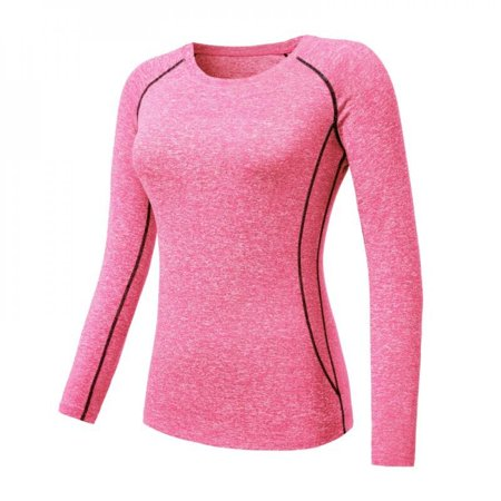 [Big Save!]Women Cozy Quick Dry Tops Compression Base Layer Athletic Long Sleeve T-Shirts Sports For Running Cycling Fitness Yoga Gym Pink M thumbnail