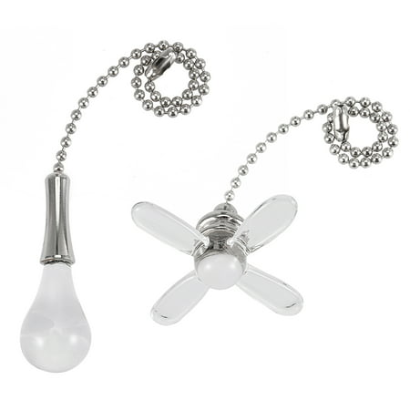 Unique Bargains 1Set Acrylic Clear Fan Bulb Pendant with 6 inch Sliver Tone Pull Chain