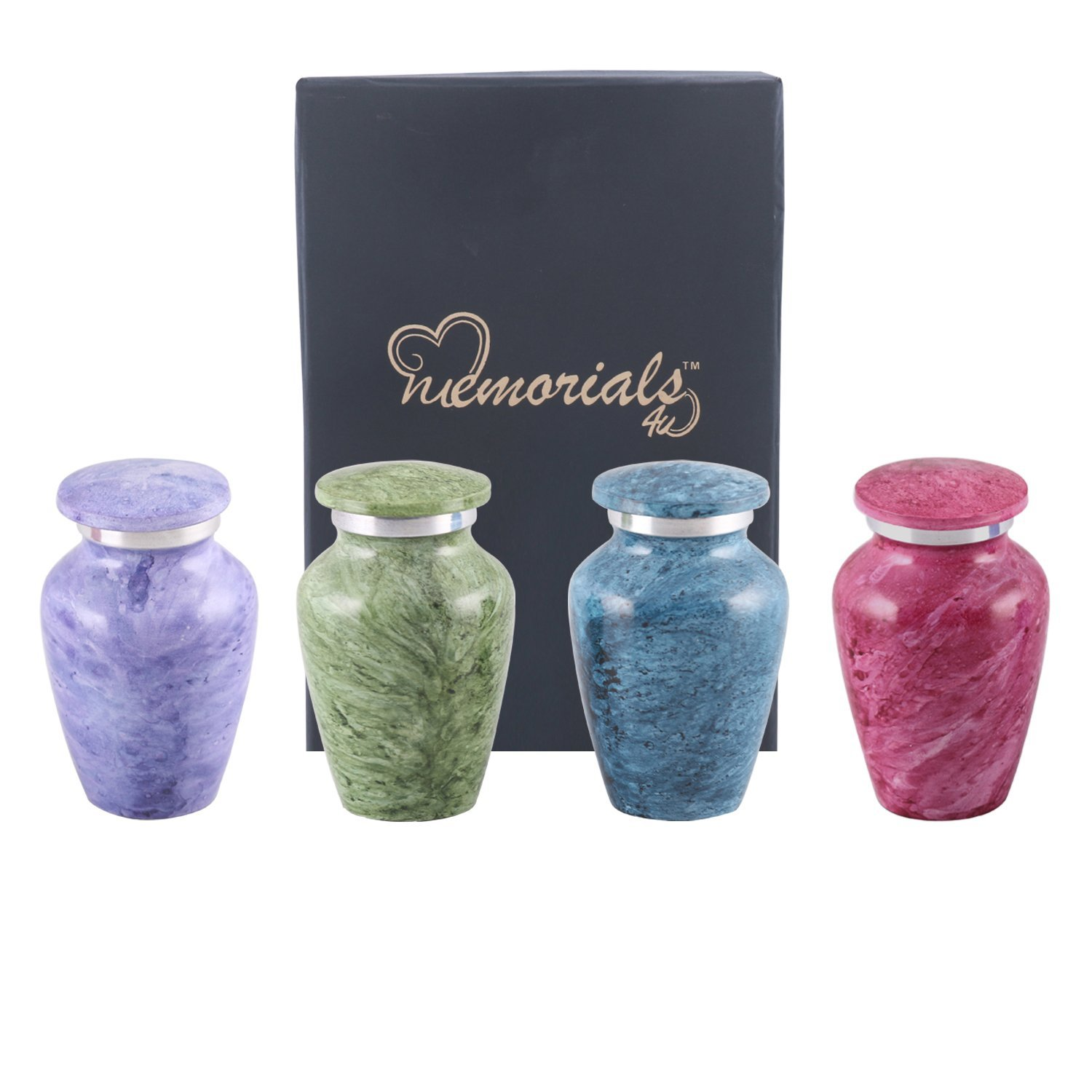 Shades of Marble Classic Keepsake Urns Set of 4 - Token Urns - Keepsake Urn Set - Handcrafted and Affordable Memorial Mini Urns for Ashes - Best Deal