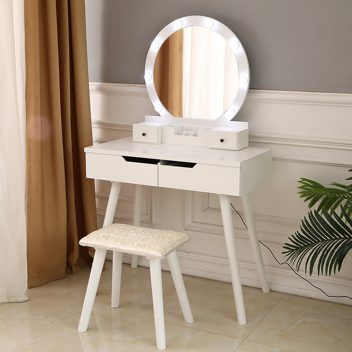Image of: Ktaxon Vanity Set With Round Lighted Mirror Makeup Dressing Table With 8 Light Bulbs Cushioned Stool Set Bedroom Vanities Set White Walmart Com Walmart Com
