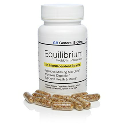 Equilibrium Daily Time Release Probiotic Supplement with Prebiotic – 30 Effective Easy to Swallow Capsules – Highest Strain Count in the World –
