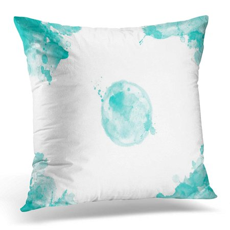 Turquoise Dot - ECCOT White Splash Turquoise Watercolor Border and Corners with Dot in The Middle for High Blue Circle Pillowcase Pillow Cover Cushion Case 20x20 inch