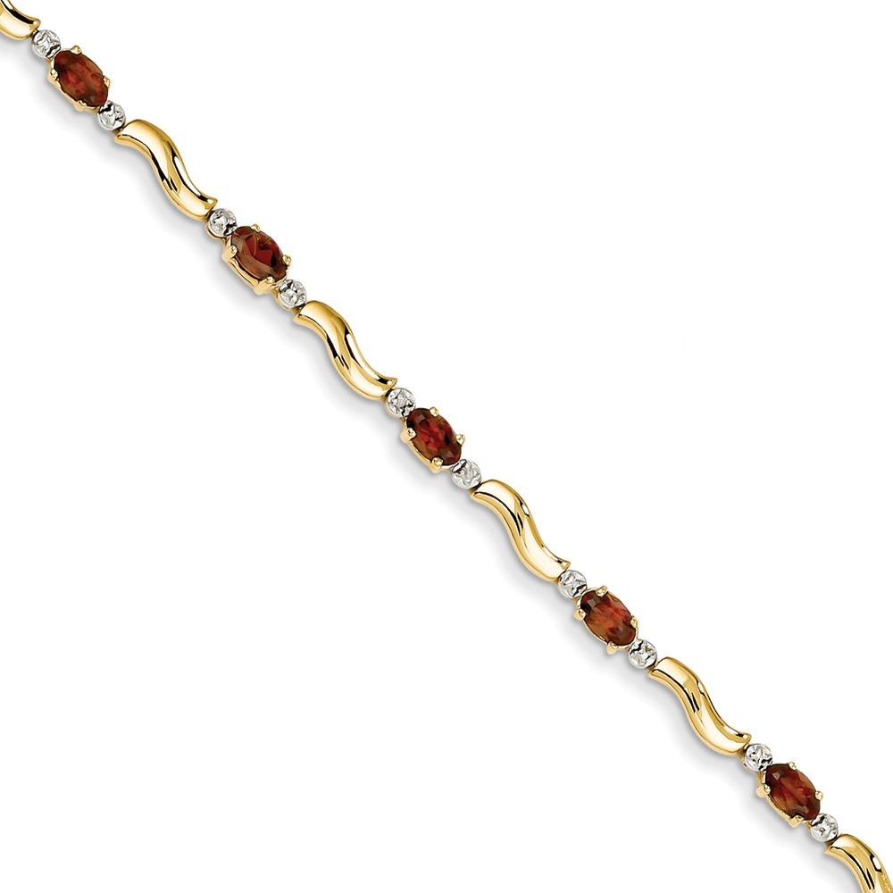 14k Yellow Gold Fancy Diamond Garnet Bracelet .01 dwt 2.70 cwt 7 Inch Lobster Claw by Kevin Jewelers