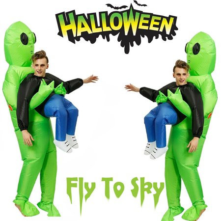 Halloween Costume Carrying Box (Costumes For Adults One Size Inflatables Skin Suit Adult Green Alien Carrying Human Cosplay)