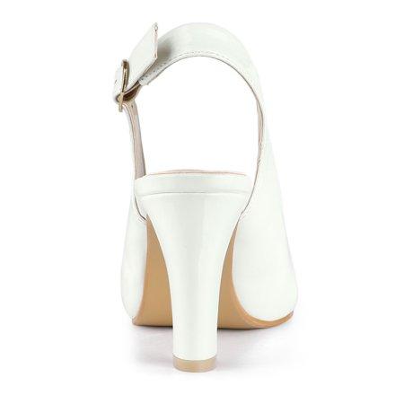 Women's Peep Toe Dress Slingback Chunky Heel Pumps White US 7 - image 5 de 7