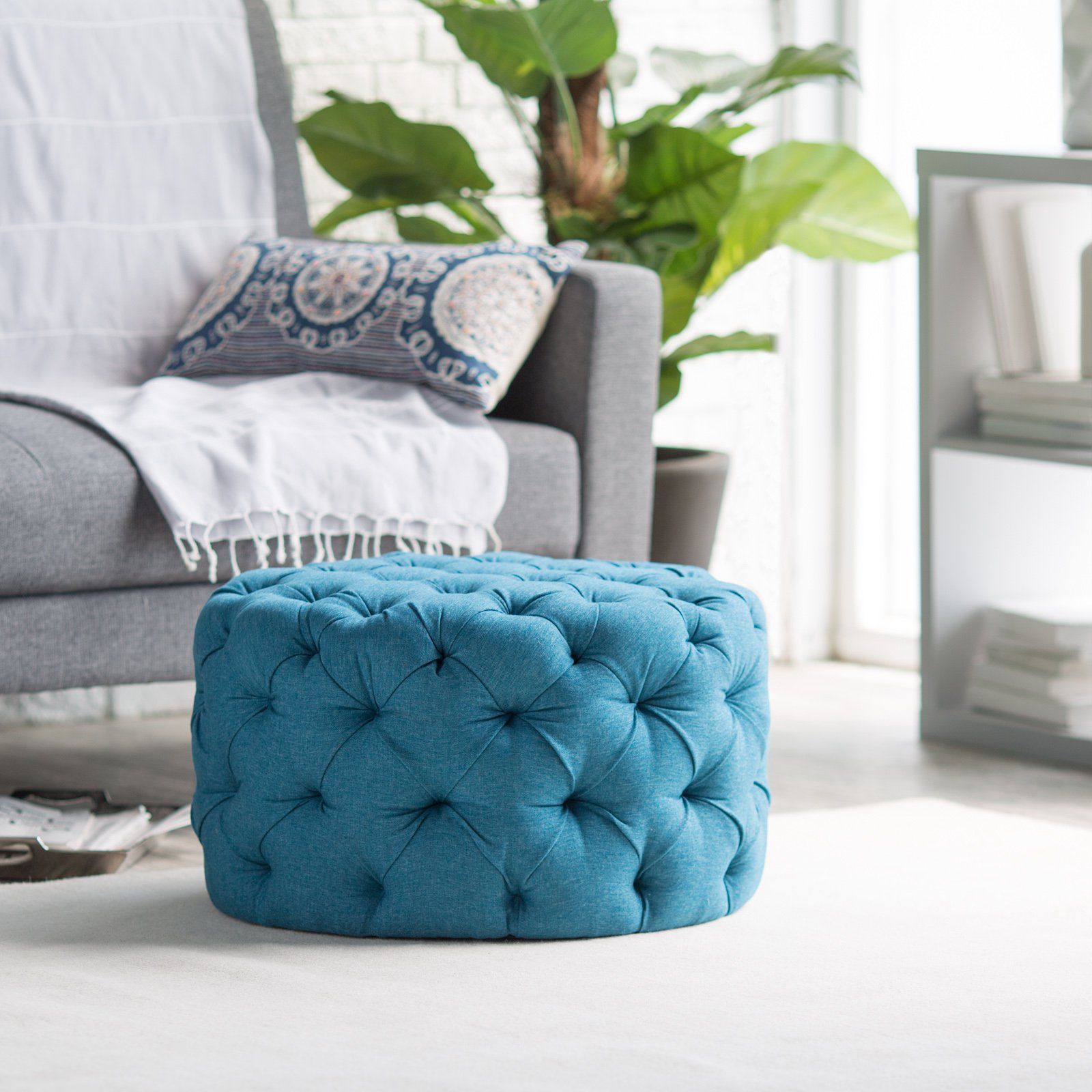 Belham Living Allover Round Tufted Ottoman - Teal