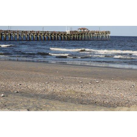 LAMINATED POSTER Waves Pier Seashore Beach Sea Birds Sand Poster Print 24 x 36 ()