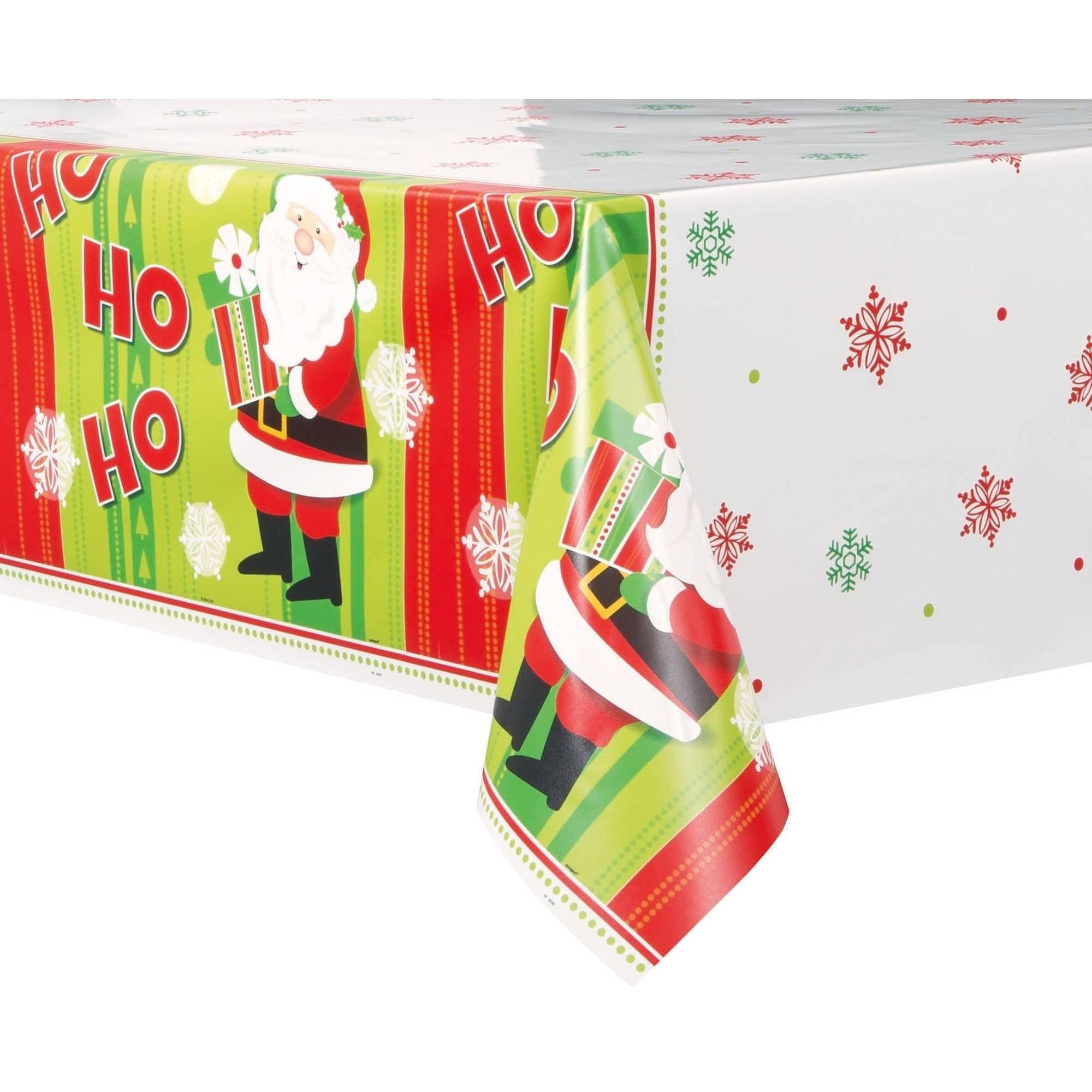 "(6 pack) Plastic Happy Santa Christmas Table Cover, 84"" x 54"""