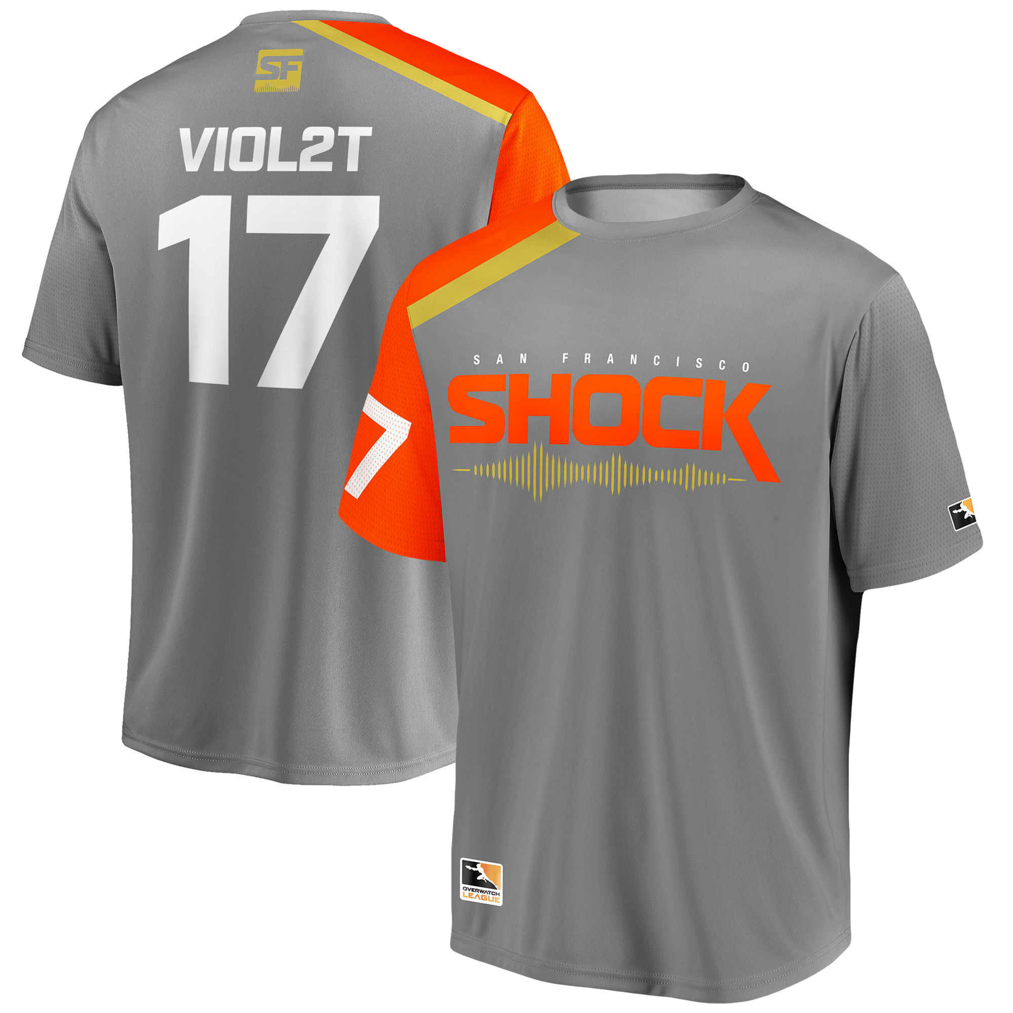 Viol2t San Francisco Shock Overwatch League Replica Home Jersey - Gray