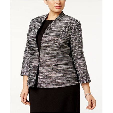 Kasper Women's Plus Size Metallic Tweed Blazer, 20W