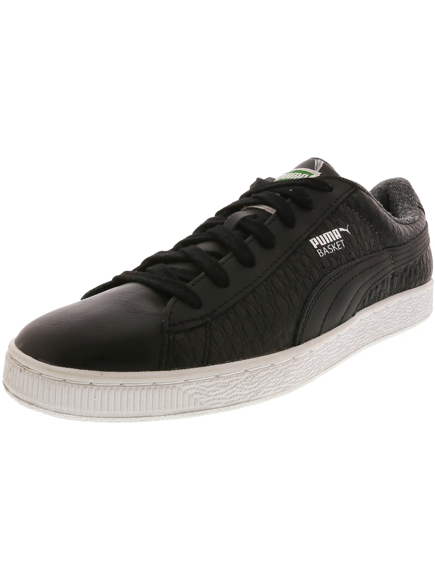 Puma Men's Basket Classic Textured White Ankle-High Leather Fashion Sneaker - 10.5M