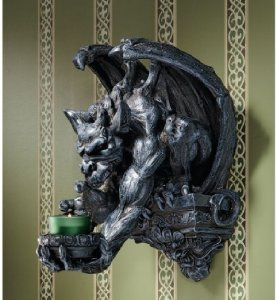 """13"""" Dark Winged Dragon Gargoyle Statue Sculpture Wall Sconce Candle Holder by XoticBrands"""
